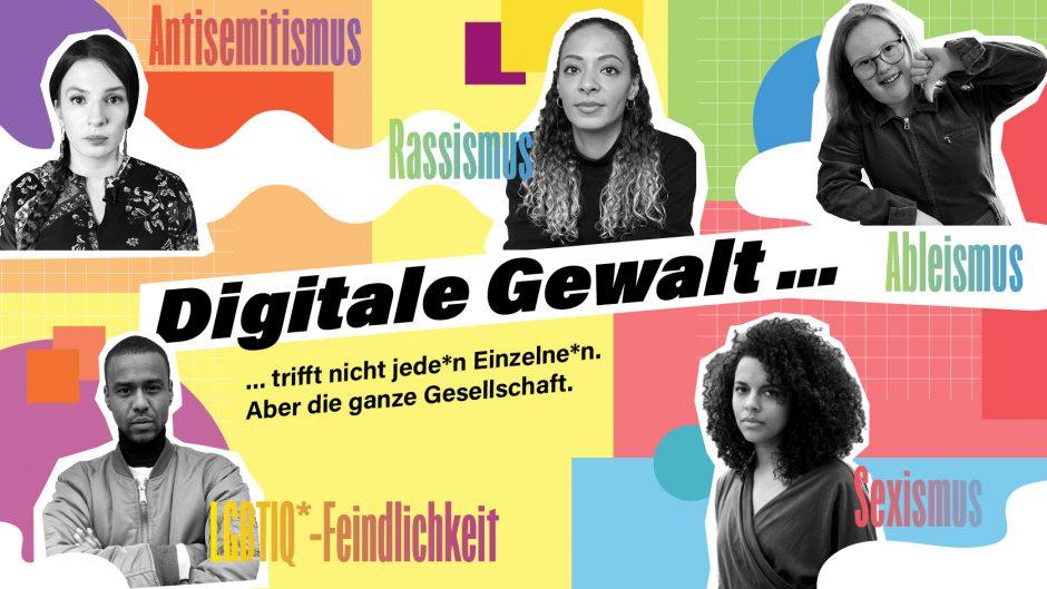 Collage zur Kampagne Digitale Gewalt ist mit Vertreter*innen marginalisierter Gruppen
