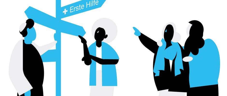 Ratgeber bei Gewalt im Internet Illustration mit Menschen vor Wegweiser
