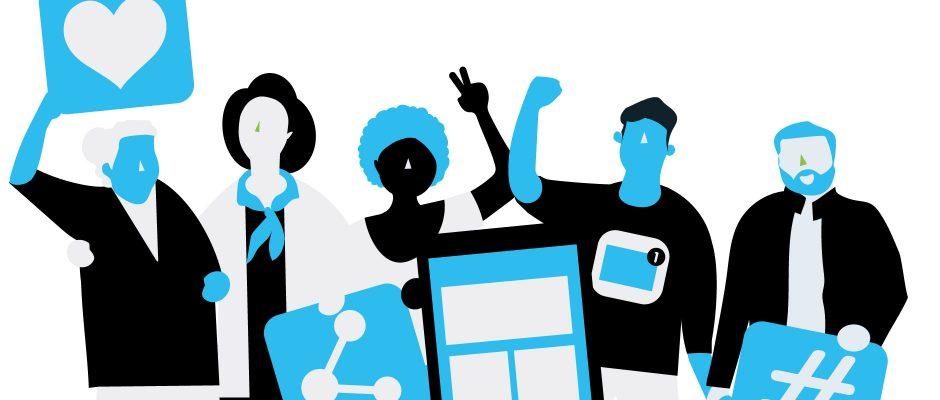 Illustration Schutz vor digitaler Gewalt Menschen in empowernder Pose
