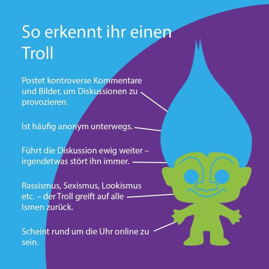 Die Darstellung eines Trolls zeigt auf, woran man diesen erkennen kann.