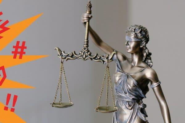 Abstrakt dargestellte Beleidigung trifft auf die Justiz.