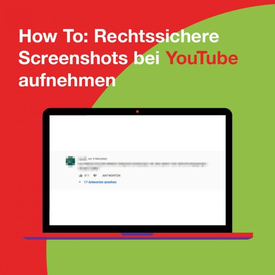 Bildschirm mit zensiertem Kommentar auf YouTube, der mit einem rechtssicheren Screenshot gesichert werden soll