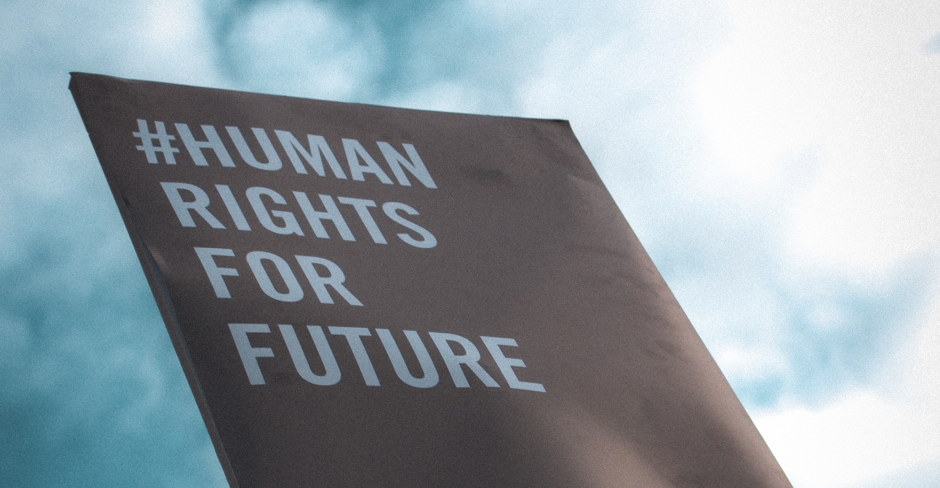 "Plakat mit der Aufschrift ""#Human rights for future"""