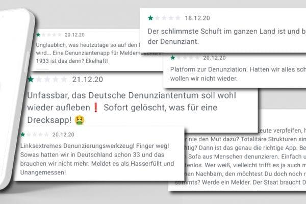 Negative Kommentare über Denunziation zur MeldeHelden App